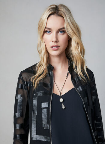 Frank Lyman – Faux Leather Detail Mesh Jacket, Black, hi-res,  faux leather jacket, faux leather blazer, mesh blazer