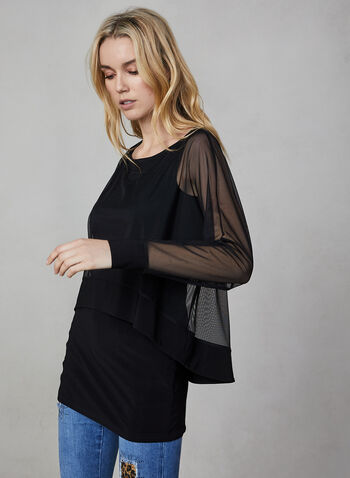 Joseph Ribkoff - Layered Tunic Top, Black,  Joseph Ribkoff, Canada, top, mesh, jersey, long sleeves, tunic, fall 2019, winter 2019