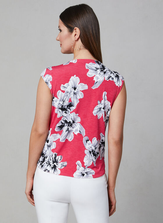 Floral Print Faux Wrap Top, Red, hi-res