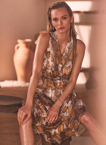 Snake Print Chain Belt Dress, Multi,  cocktail dress, snake, sleeveless, chiffon, fall winter 2020