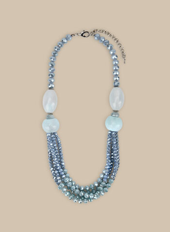 Multi-Row Beaded Stone Necklace, Blue,  necklace, stones, multi-row, faceted, beads, spring summer 2020