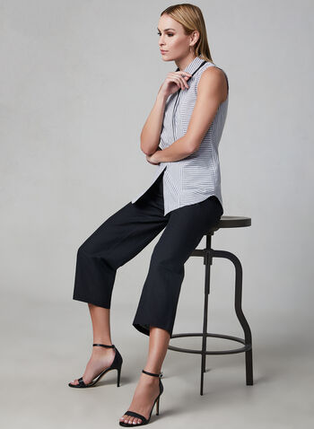Pull-On Linen Culottes, Black, hi-res,  culotte, cotton, pull-on, spring 2019