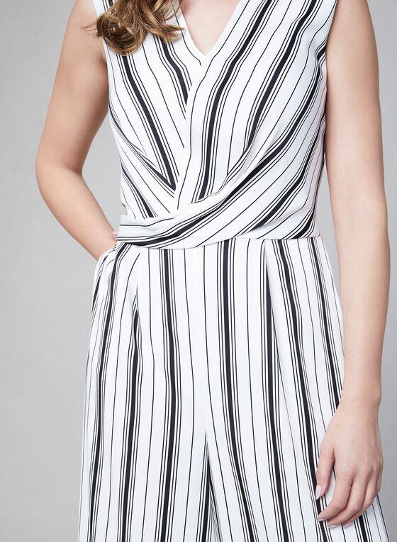 Joseph Ribkoff – Stripe Print Jumpsuit, Black, hi-res
