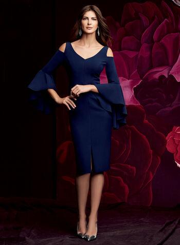 Maggy London - Cold Shoulder Ruffle Sleeve Dress, , hi-res