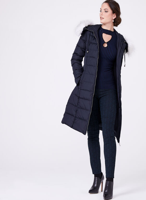 Removable Faux Fur Quilted Coat, Blue, hi-res