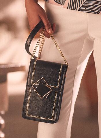 Topstitch Detail Crossbody Bag, Black,  bag, crossbody, chain, shoulder, topstitch, contrast, abstract, enamel, spring summer 2021
