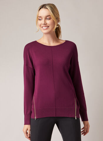 Zipper Detail Sweater, Purple,  sweater, zipper, fall winter 2020