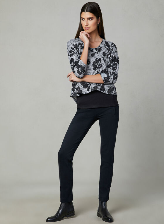 Layered Knit Top, Grey, hi-res