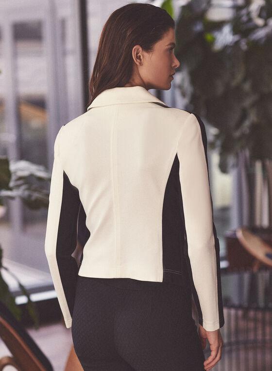 Notch Collar Contrast Blazer, Off White