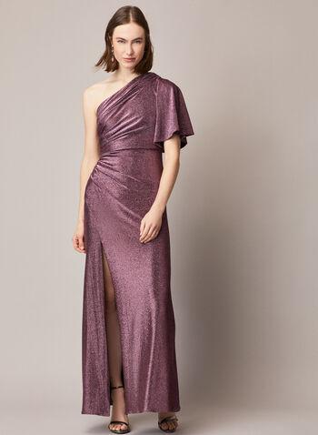 Adrianna Papell - Robe drapée à épaule dénudée , Violet,  fêtes, fêtes 2020, automne hiver 2020, occasion, robe longue, drapage, épaule dénudée,tissu métallisé, fente au genou, jersey