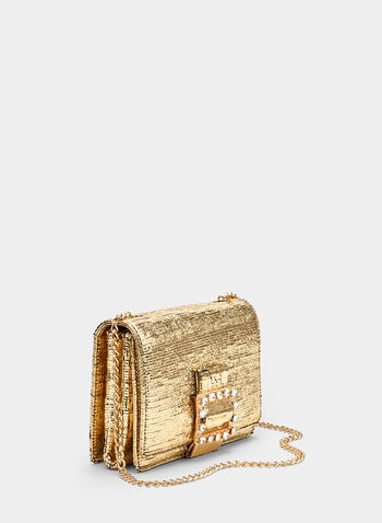 Crystal Embellished Metallic Clutch, Gold, hi-res,  clutch, spring 2019, metallic