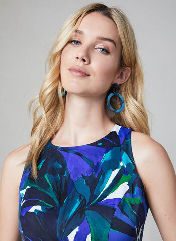 Sleeveless Floral Print Dress, Blue, hi-res