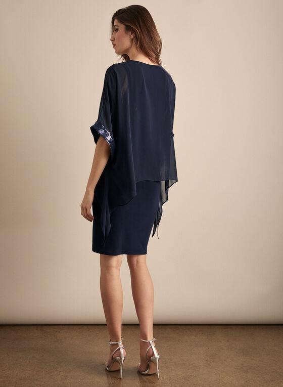 Joseph Ribkoff - Robe poncho à sequins, Bleu