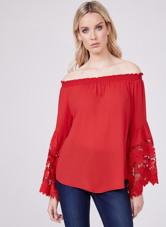 Joseph Ribkoff - Bell Sleeve Off The Shoulder Blouse, Red