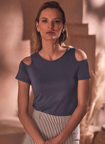 T-shirt à manches courtes ajourées, Bleu,  printemps été 2021, haut, t-shirt, manches courtes, ajourées, encolure dégagée, ourlet arrondi, fait au canada