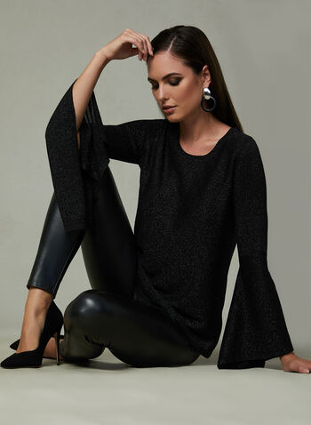 Angel Sleeve Glitter Sweater, Black,
