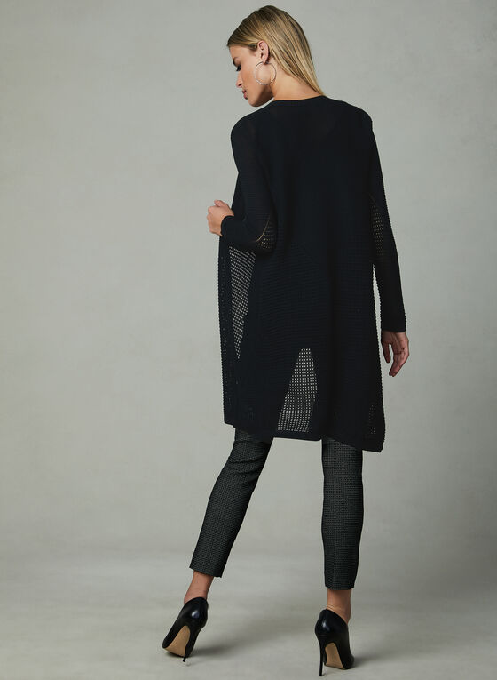 Long Open Front Cardigan , Black, hi-res