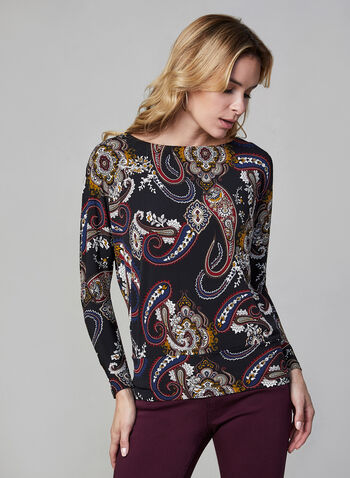 Paisley Print Top, Black,  top, paisley print, dolman sleeves, made in Canada, boat neck, fall 2019, winter 2019