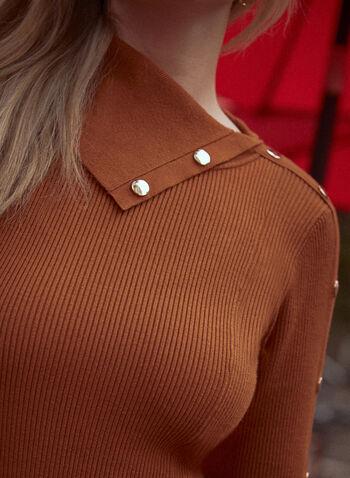 Split Collar Knit Dress, Brown,  fall 2021, dress, day dress, short, ribbed, knit, fit, flare, buttons, split neck, split collar, decorative, long sleeves, belt, belted, waist