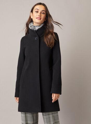 Mallia - Manteau en laine et cachemire, Noir,  manteau, col montant, laine, cachemire, poche, automne hiver 2020