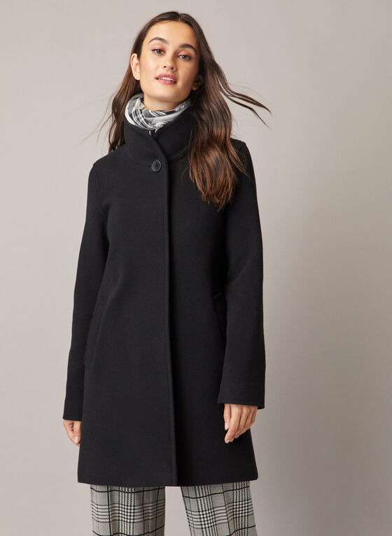 Mallia - Wool & Cashmere Blend Coat, Black