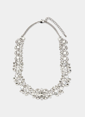 Faceted Crystal Bib Necklace, Silver, hi-res