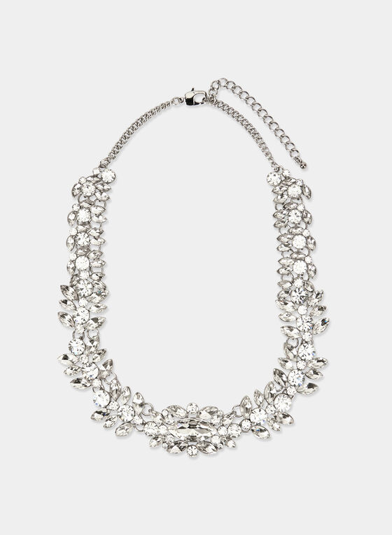 Faceted Crystal Bib Necklace, Silver, hi-res