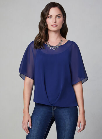 Layered Chiffon Top, Blue, hi-res,  poncho blouse, chiffon, layered, jersey, fall 2019, winter 2019