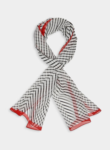 Chevron Print Silk Scarf, Red, hi-res