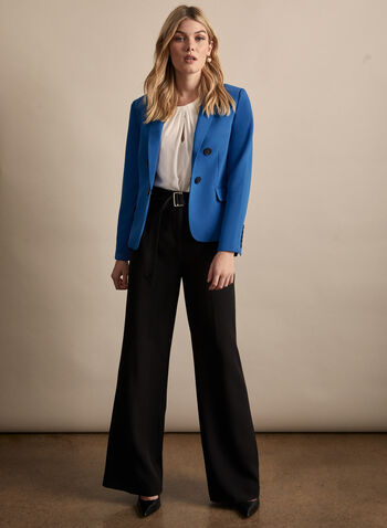 Notch Collar Topstitch Detail Blazer, Blue,  jacket, blazer, notch collar, topstitch, buttons, flap pockets, long sleeves, spring summer 2020