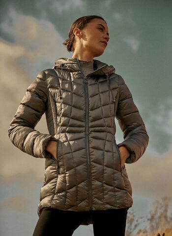 Bernardo - Manteau compressible Ecoplume™, Argent,  automne hiver 2021, manteau, manteau d'hiver, compressible, matelassé, capuchon, EcoPlume, cintré, poches, zip, glissière, Bernardo, duvet, végane