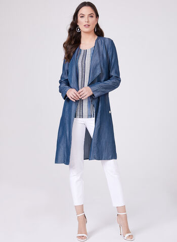 Open Front Cascading Jacket , Blue, hi-res