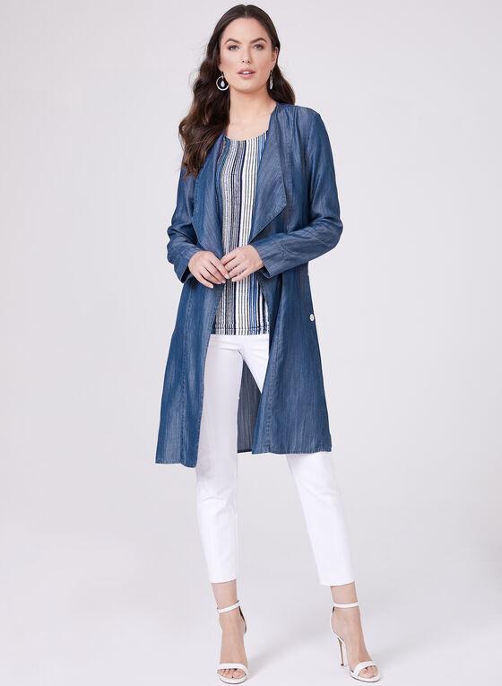 Open Front Cascading Jacket , Blue, hi-res