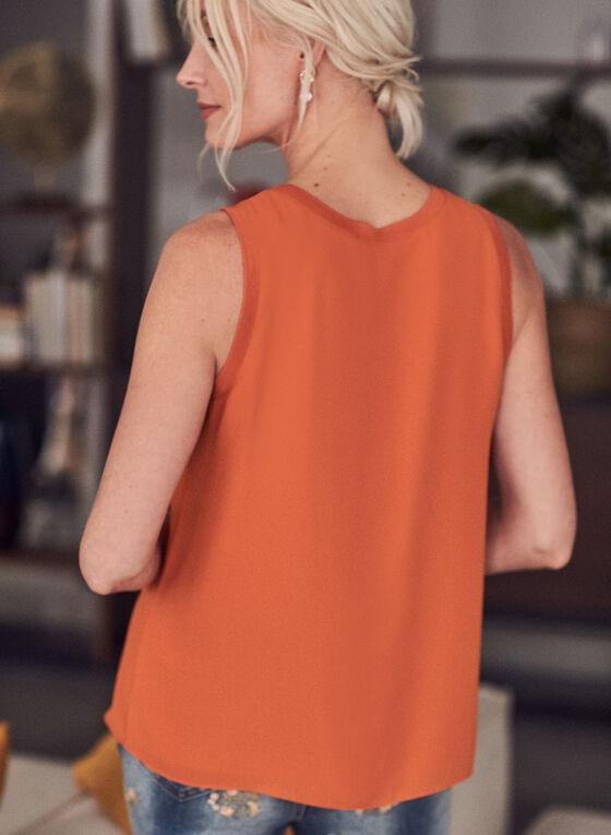 Blouse en crêpe sans manches , Orange