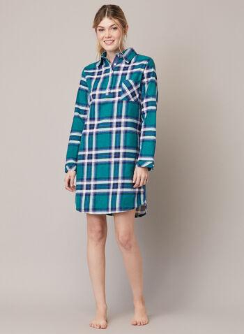 Chemise de nuit à carreaux, Vert,  automne hiver 2020, chemise de nuit, pyjama, robe de nuit