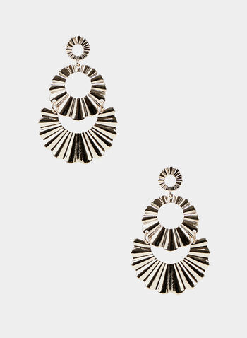 Corrugated Circle Earrings, Gold,  metallic, corrugated, tiered, spring summer 2020