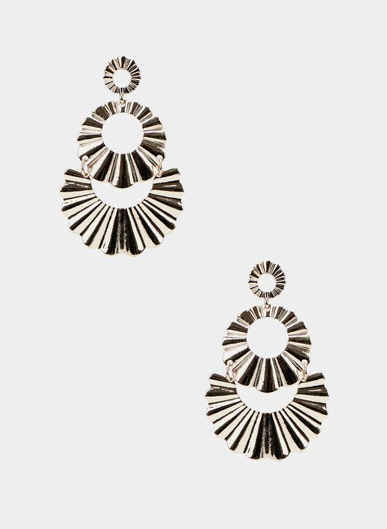 Corrugated Circle Earrings, Gold