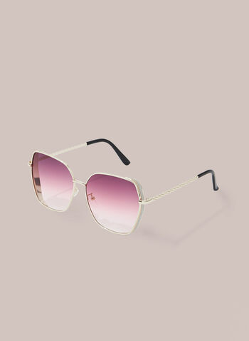 Glitter Detail Sunglasses, Gold,  sunglasses, metal, twist, glitter, spring summer 2020