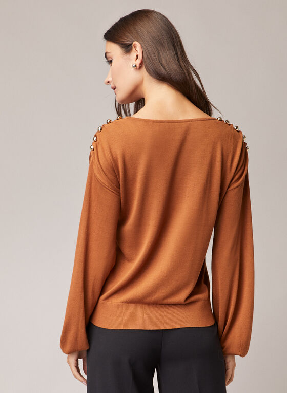 Button Detail Balloon Sleeve Sweater, Brown