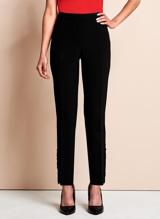 Straight Leg Ankle Pants, Black, hi-res