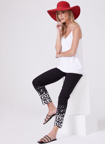 Polka Dot Print Ankle Pants, Black, hi-res