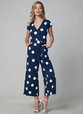 Karl Lagerfeld Paris - Combinaison à pois, Bleu,  combinaison, col V, manches courtes, pois, ceinture, jambe large, crêpe, automne hiver 2019