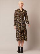 Chain Print Collared Dress, Black