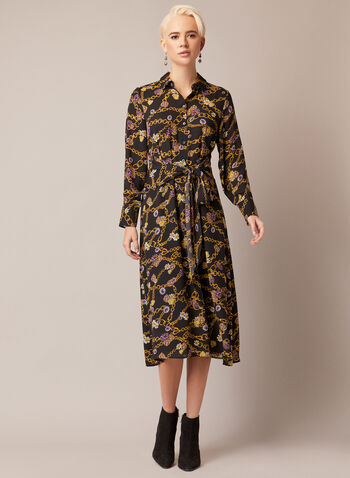 Chain Print Collared Dress, Black,  fall winter 2020, dress, blouse, long sleeves, buttons, pattern, chains, bow, tie, midi