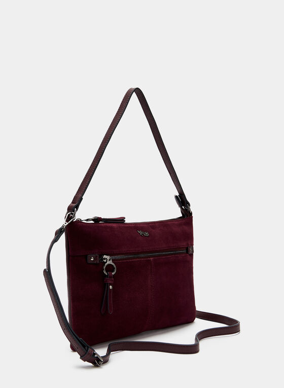 Faux Suede Crossbody Bag, Red, hi-res