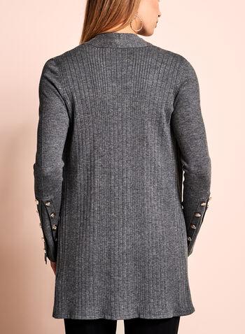 Cardigan ouvert en tricot et boutons décoratifs, Gris, hi-res