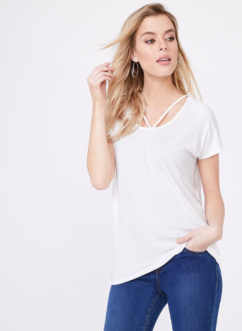 Lace Effect Jersey Top, Off White, hi-res