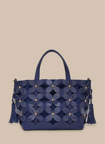 Flower Appliqué Tote , Blue,  tote, purse, handbag, flowers, shoulder strap, zipper, spring 2020, summer 2020