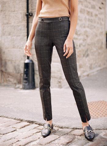 Pantalon Amber à enfiler motif carreaux, Vert,  automne hiver 2021, pantalon, pantalon à enfiler, jambe étroite, détail, boutons à la taille, motif, imprimé, carreaux, tartan, confortable, extensible, fente à l'ourlet