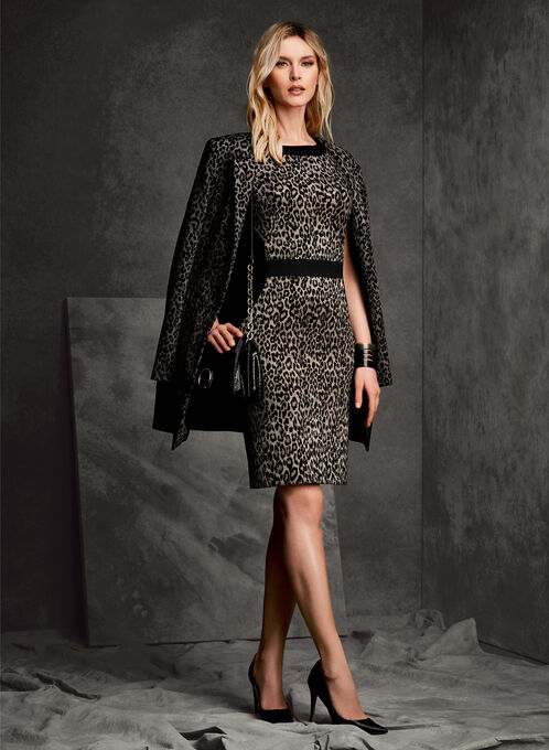 Veste longue à motif léopard, Noir, hi-res